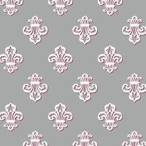 Fleur de Lis / White on Grey