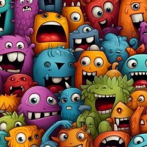Quatrefoil / White, Red on Black