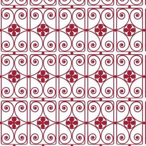 Ironwork / Red on White