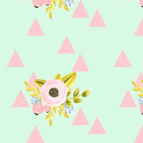 flower triangles - mint and pink