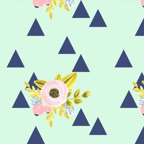 flower triangles - navy and mint