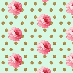 Flower and gold dot - mint