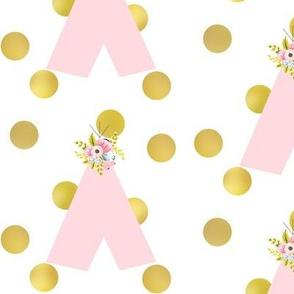 floral teepee and gold dots