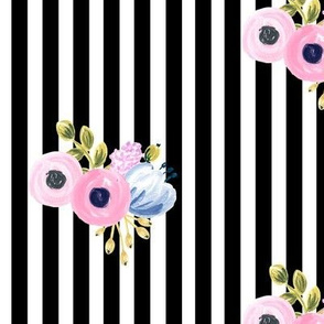 small bouquet on vertical stripes - black