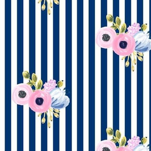small bouquet on vertical stripes - navy
