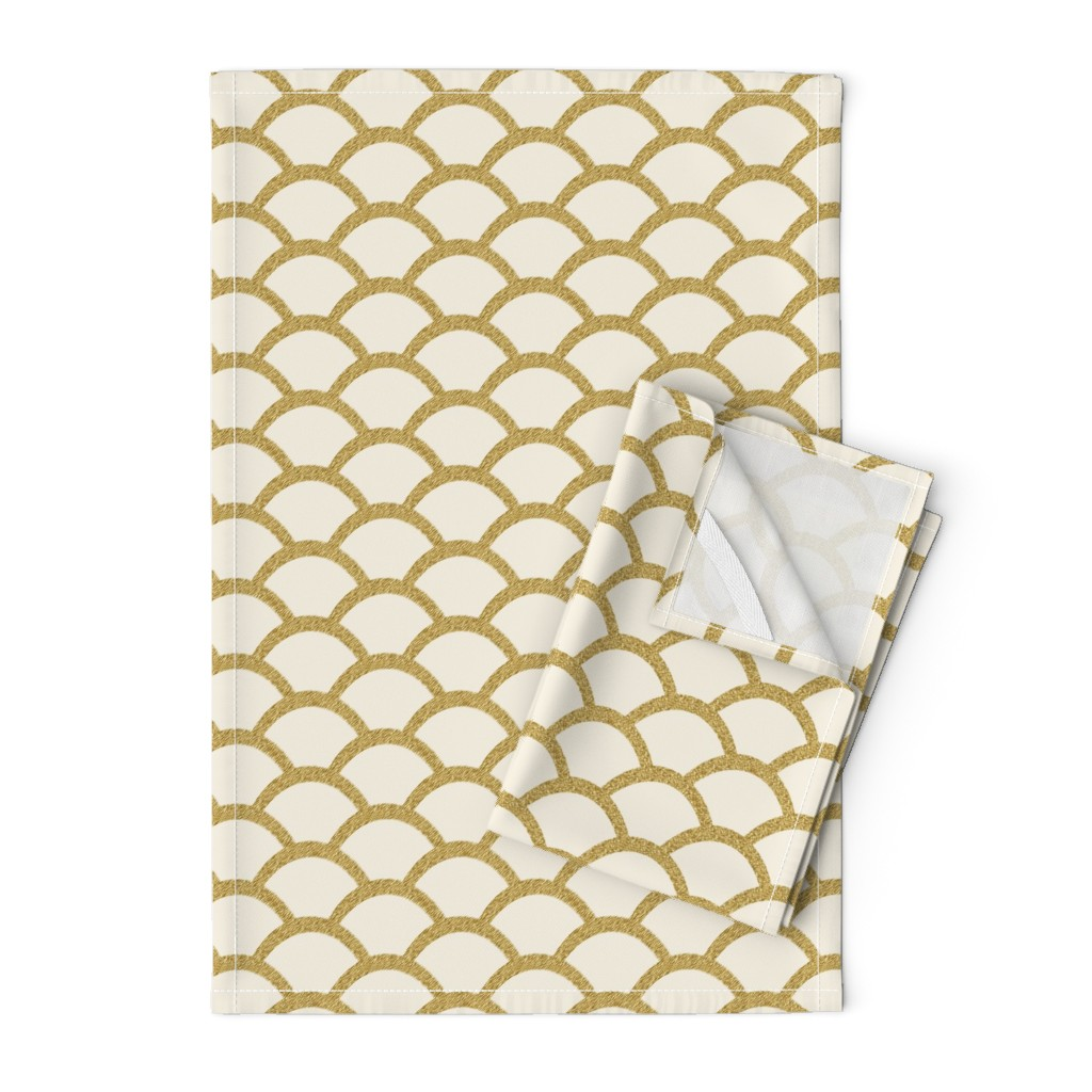 Orpington Tea Towels featuring Faux Gold Glitter Scallop, Cream by pearl&phire