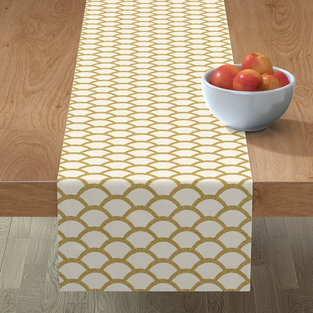 Minorca Table Runner featuring Faux Gold Glitter Scallop, Cream by pearl&phire