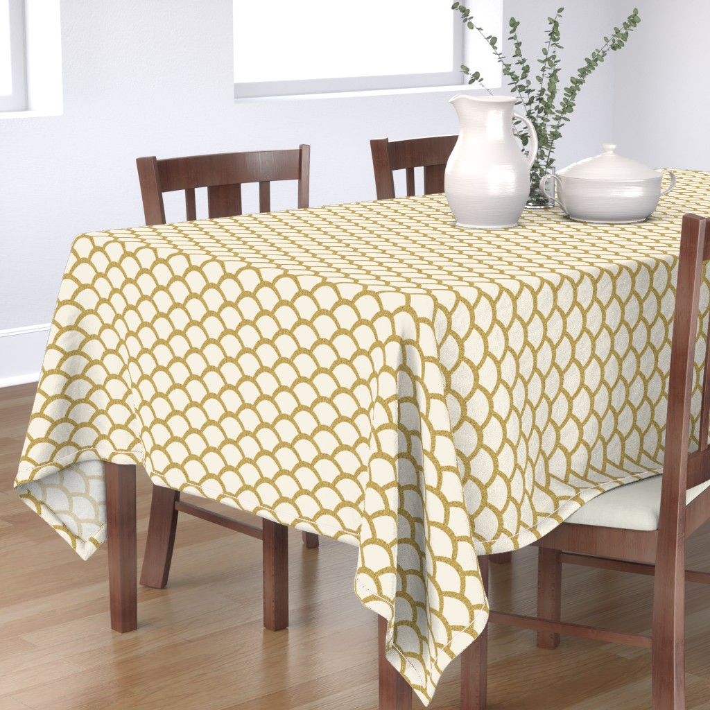 Bantam Rectangular Tablecloth featuring Faux Gold Glitter Scallop, Cream by pearl&phire
