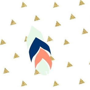 triangle feathers - gold, mint, coral, navy