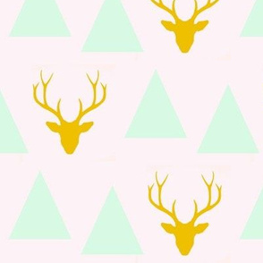 triangles stag - yellow, mint, light pink