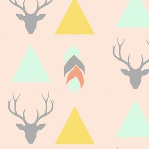 deer head, triangles & feather - pink