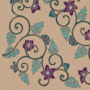 My-beautiful-corner-embroidery-pattern-squared-COPPER-lines-embroidery-colors-TAN-PAPER