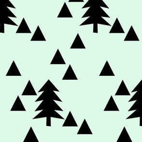 Triangle Forest - black on mint