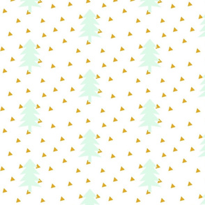 triangle forest - mint and mustard yellow