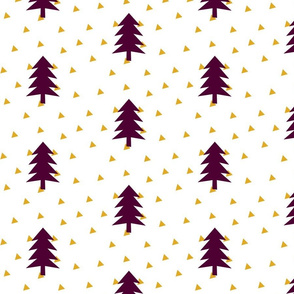 Triangle Forest - mustard yellow and plum