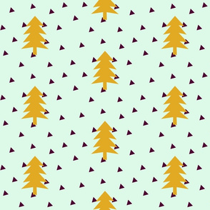 Triangle Forest - mustard yellow on mint