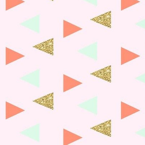 triangles - gold, coral, mint on light pink