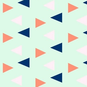 Triangles - pink, coral, navy on mint