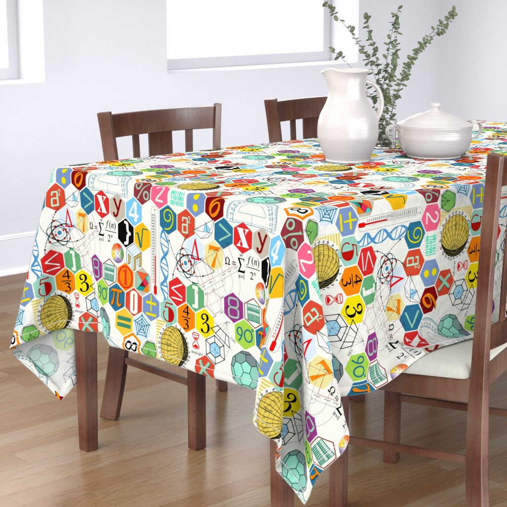 Bantam Rectangular Tablecloth featuring Math in color ( white ) by chicca_besso