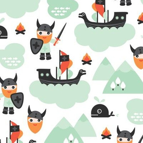 Cute kids historical hero theme viking battle ship whale and scandinavian woodland in mint and orange boys