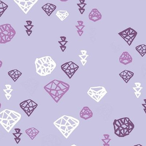 Pastel colors diamond and geometric gems in black white and soft violet