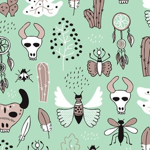 Western texas ranch skulls and animals indian summer cactus insects butterflies bull and dreamcatcher feathers illustration in mint