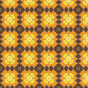 granny square yellow orange brown