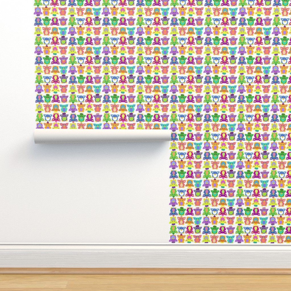 Isobar Durable Wallpaper featuring Furby Frenzie - on white by designergal