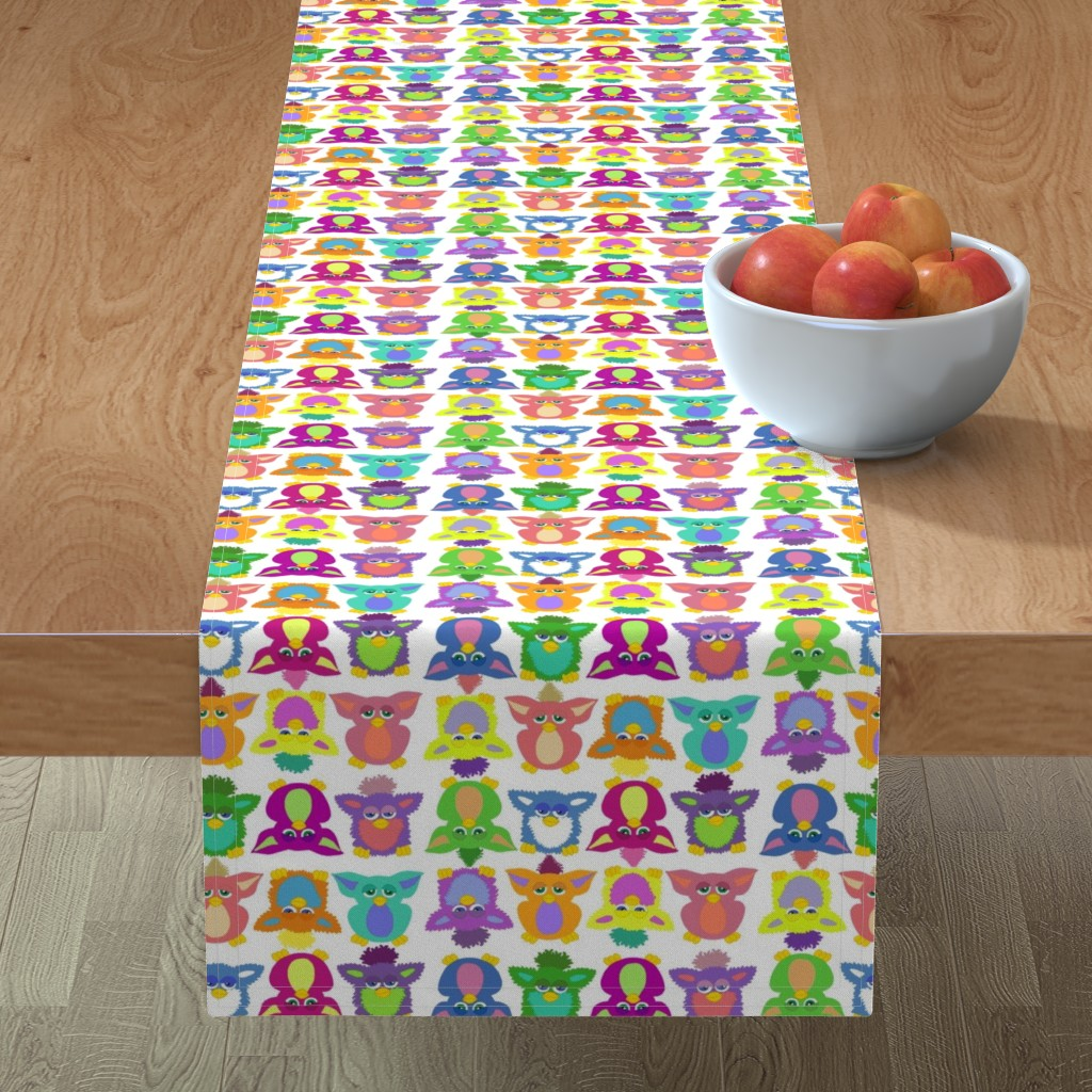 Minorca Table Runner featuring Furby Frenzie - on white by designergal