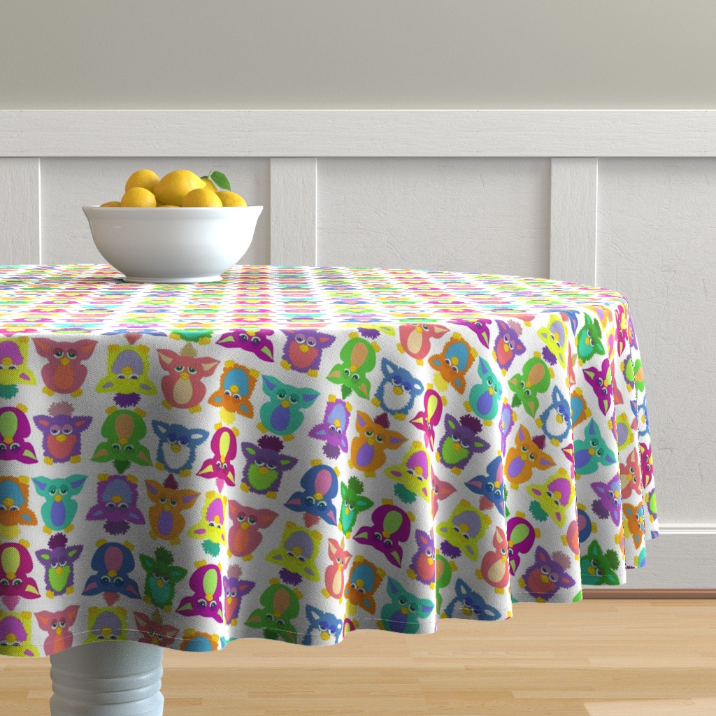 Malay Round Tablecloth featuring Furby Frenzie - on white by designergal