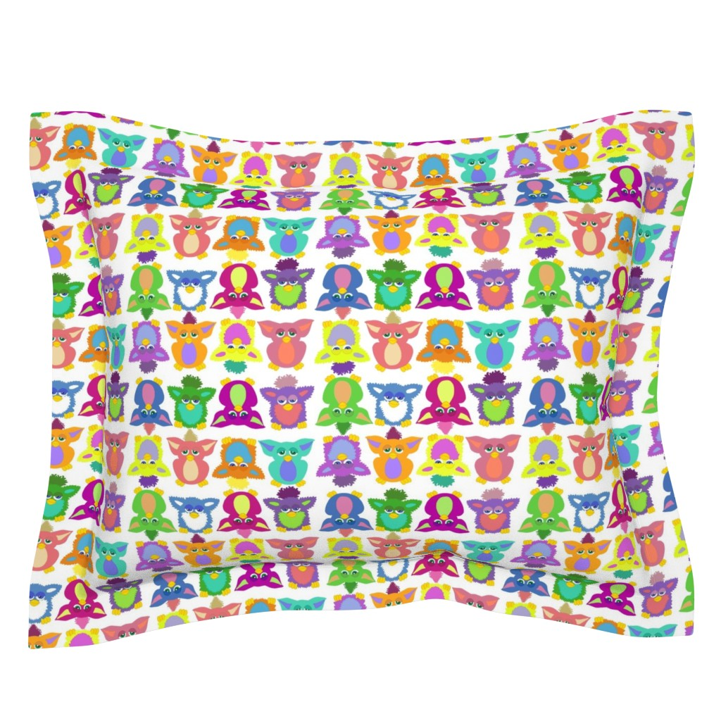 Sebright Pillow Sham featuring Furby Frenzie - on white by designergal