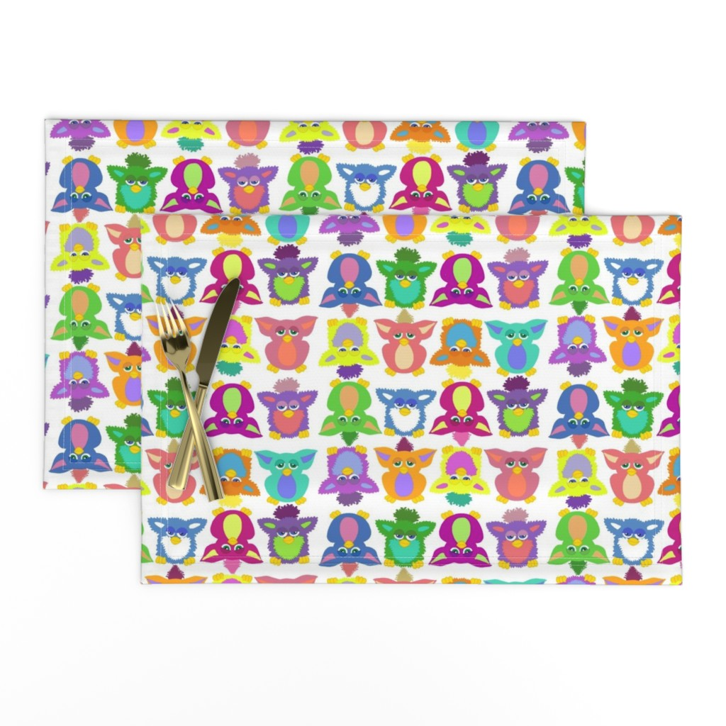 Lamona Cloth Placemats featuring Furby Frenzie - on white by designergal