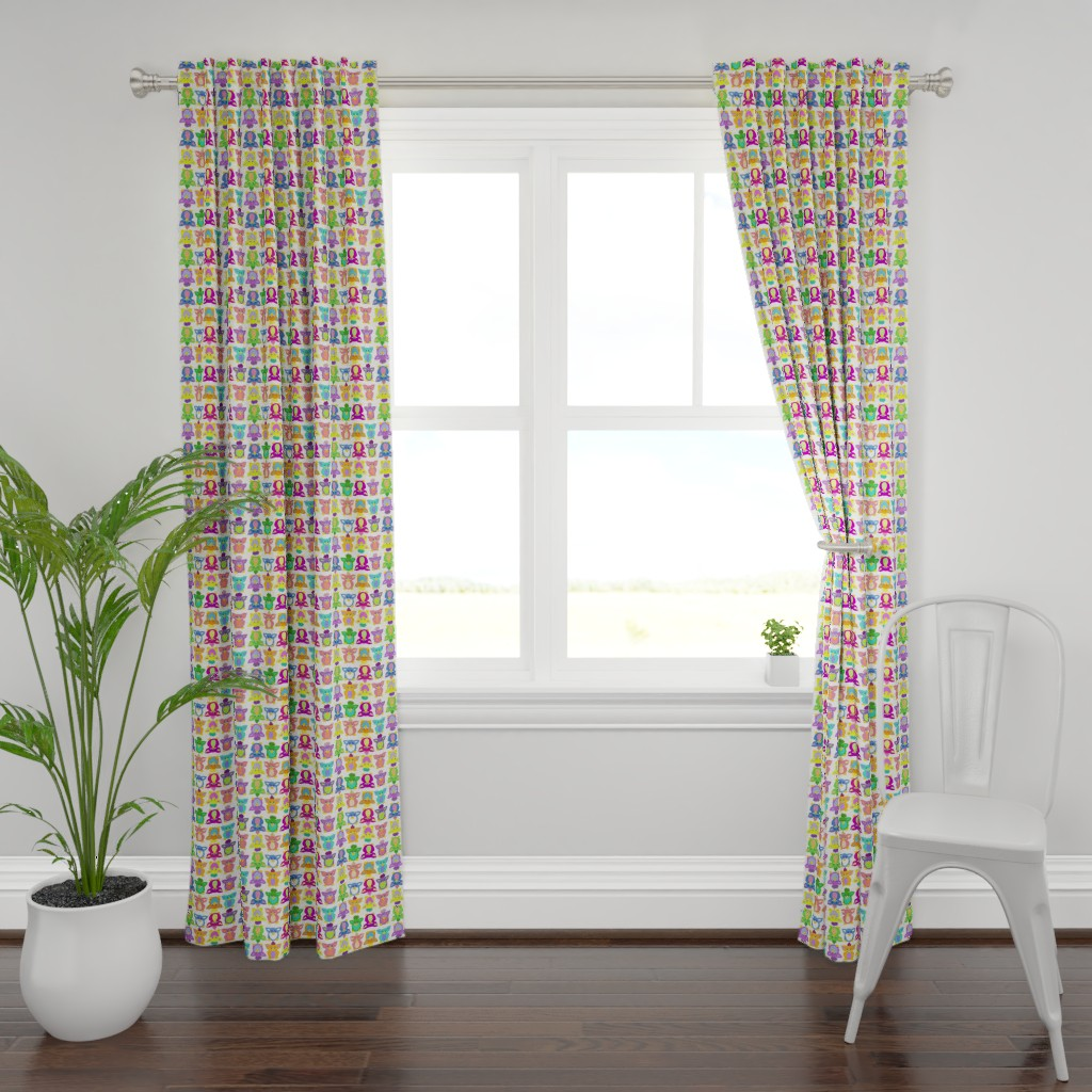Plymouth Curtain Panel featuring Furby Frenzie - on white by designergal