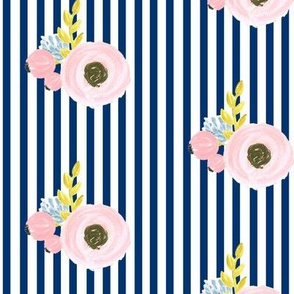 Single flower with stripes - navy