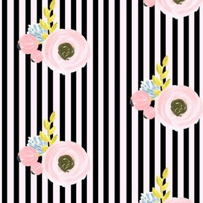 Single flower with stripes - black and light pink