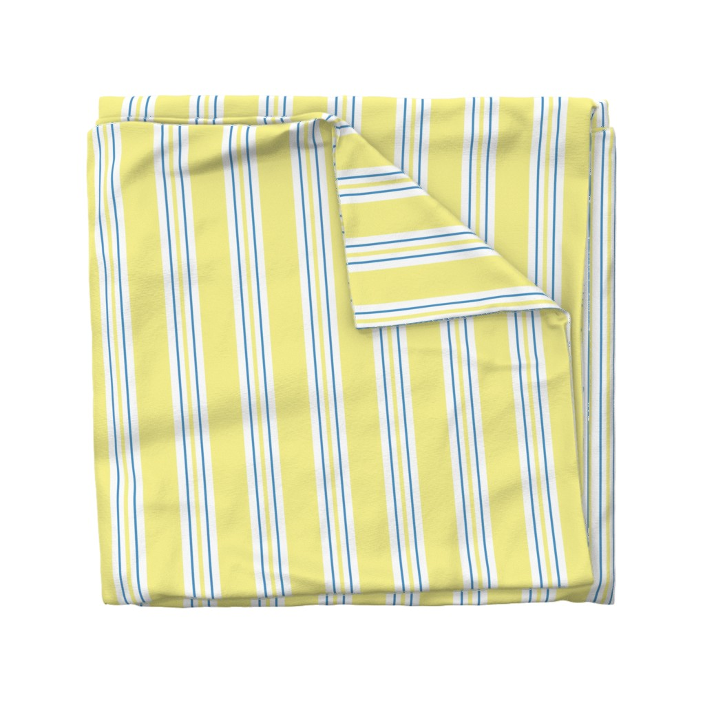 Wyandotte Duvet Cover featuring Awning Stripe - yellow by designergal