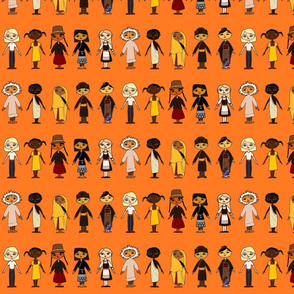 Multicultural_Children_Rows_Orange_background