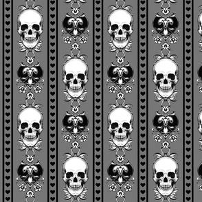 Baroque Skull Stripe Grey