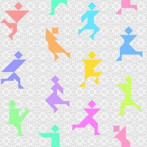 04549726 : tangrams : 12 rainbow dancers