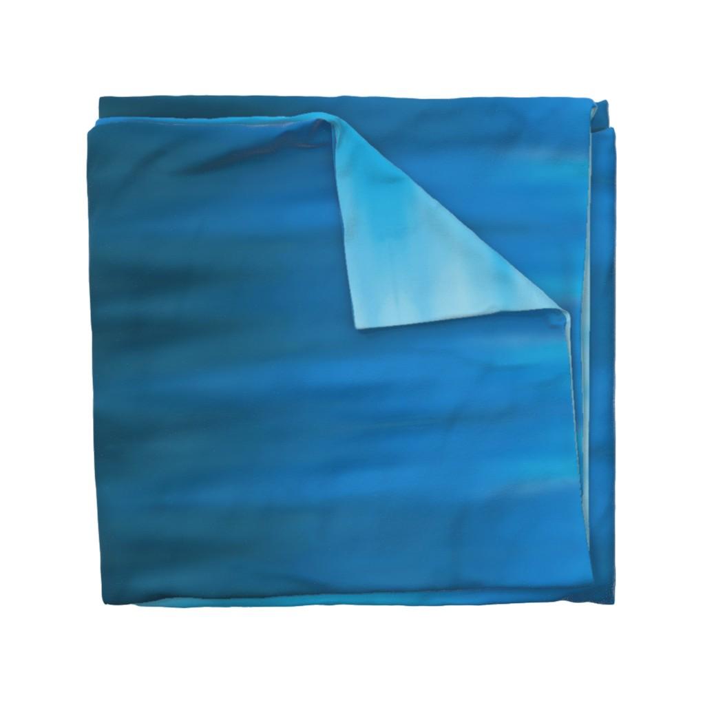 Wyandotte Duvet Cover featuring Aqua Blues Ombre Wave by designergal