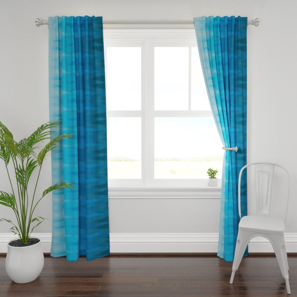 Plymouth Curtain Panel featuring Aqua Blues Ombre Wave by designergal