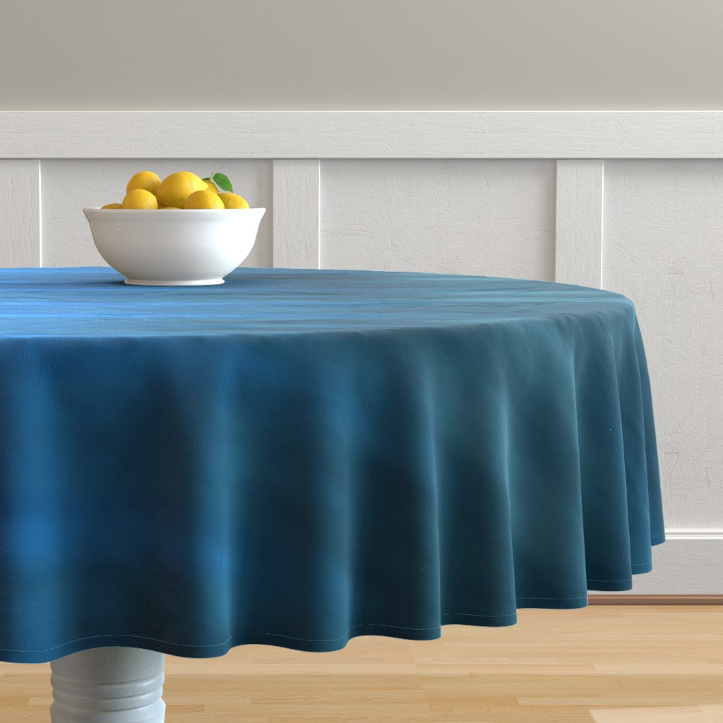 Malay Round Tablecloth featuring Aqua Blues Ombre Wave by designergal