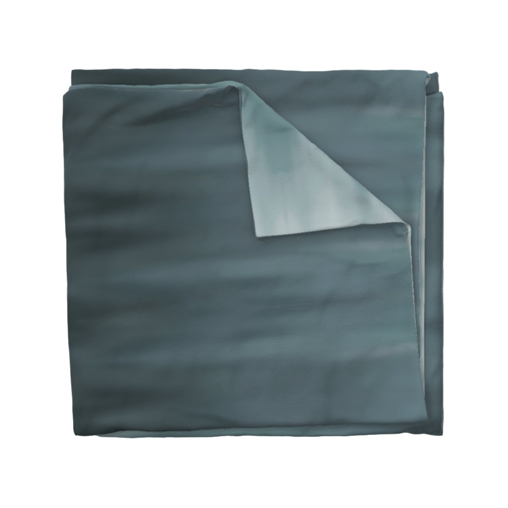 Wyandotte Duvet Cover featuring Muddy Teal Ombre Wave by designergal