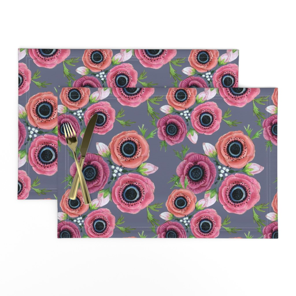 Lamona Cloth Placemats featuring Watercolor Floral Anemone //  Eternal Flower Garden child / Anemone by magentarosedesigns