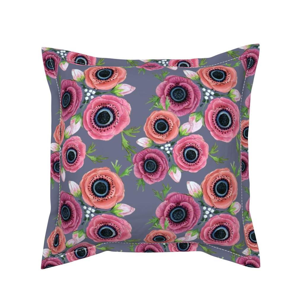 Serama Throw Pillow featuring Watercolor Floral Anemone //  Eternal Flower Garden child / Anemone by magentarosedesigns