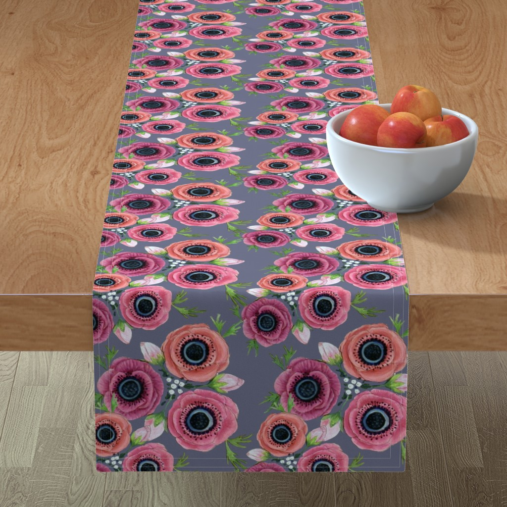 Minorca Table Runner featuring Watercolor Floral Anemone //  Eternal Flower Garden child / Anemone by magentarosedesigns