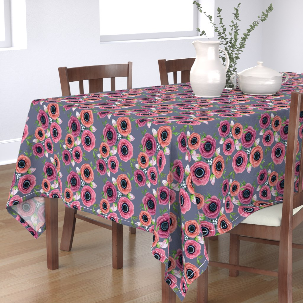 Bantam Rectangular Tablecloth featuring Watercolor Floral Anemone //  Eternal Flower Garden child / Anemone by magentarosedesigns