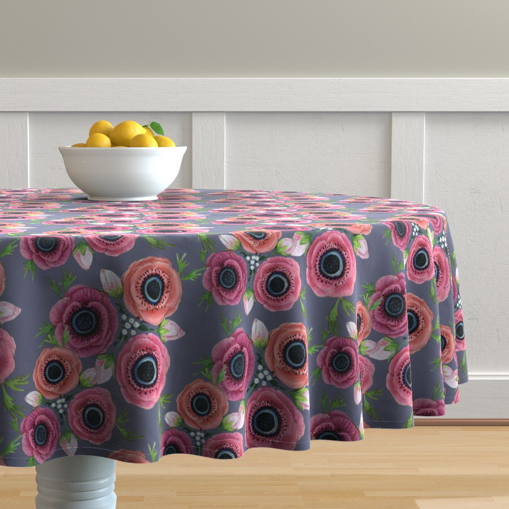Malay Round Tablecloth featuring Watercolor Floral Anemone //  Eternal Flower Garden child / Anemone by magentarosedesigns