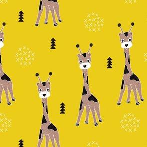Adorable little baby giraffe cute kids zoo jungle animals illustration geometric scandinavian style print in mustard