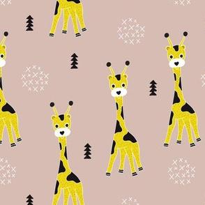 Adorable little baby giraffe cute kids zoo jungle animals illustration geometric scandinavian style gender neutral print in mustard